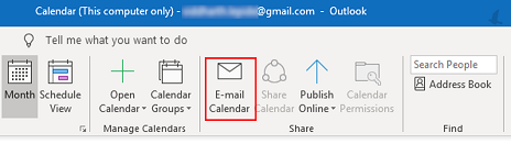 Click on Email Calendar