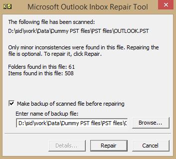 Repair PST file