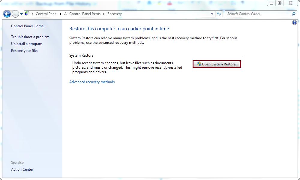 Click Open System Restore