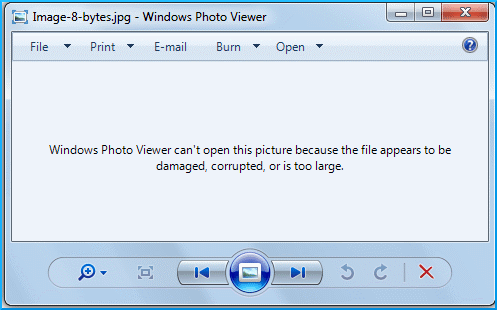 Error message while opening JPEG files