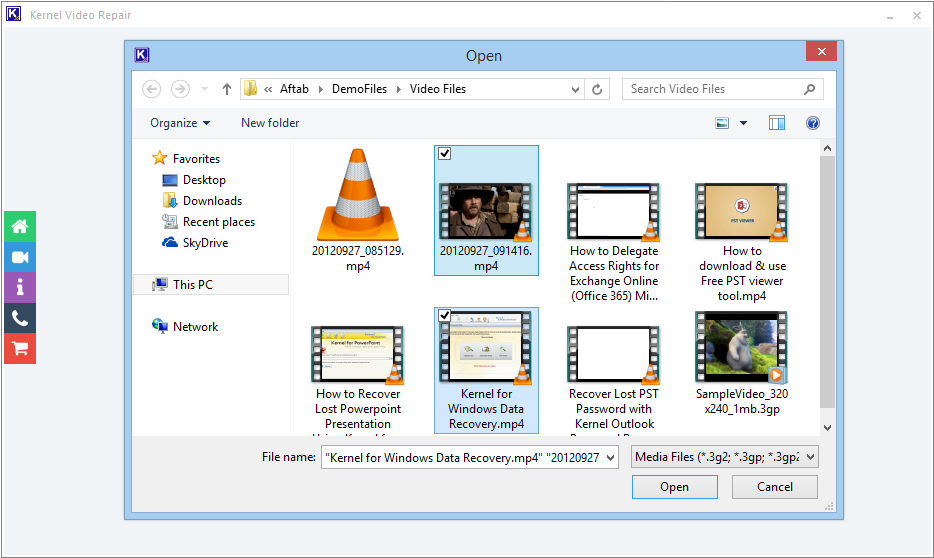 Select the corrupt video files