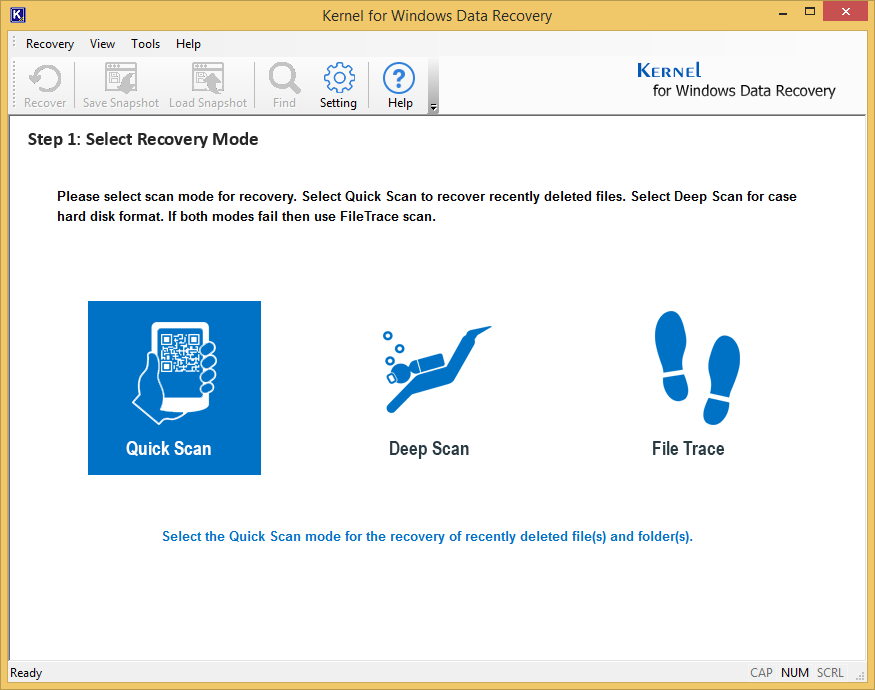 Kernel for Windows Data Recovery - Home Screen