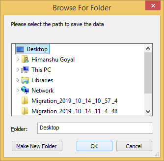 Select a location to save the files
