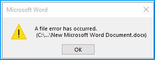 A file error has occurred