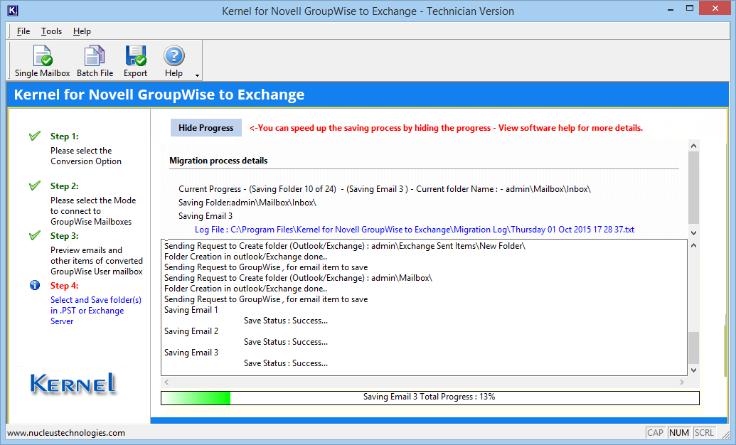 GroupWise to Exchange/Office 365 process start