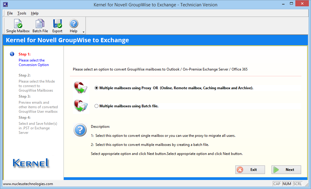 Launch GroupWise to Exchange migration tool