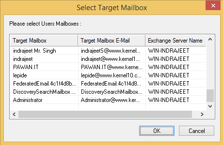 Select the target Exchange mailboxes