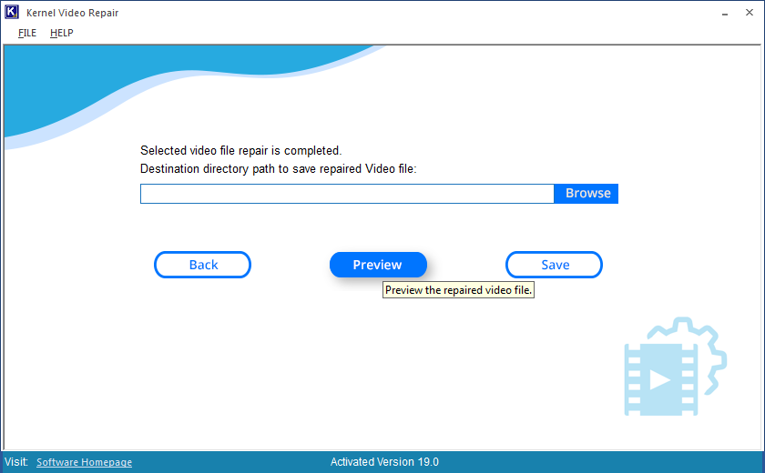 Check preview of the repaired video file