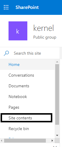 opened SharePoint Site page