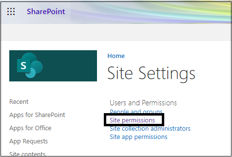 Users and Permissions section