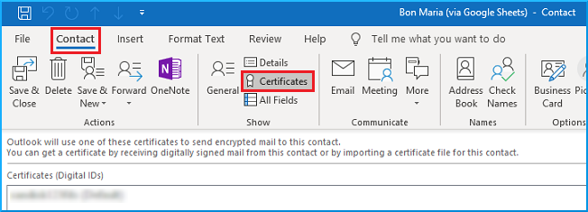 connect certificates with the contact