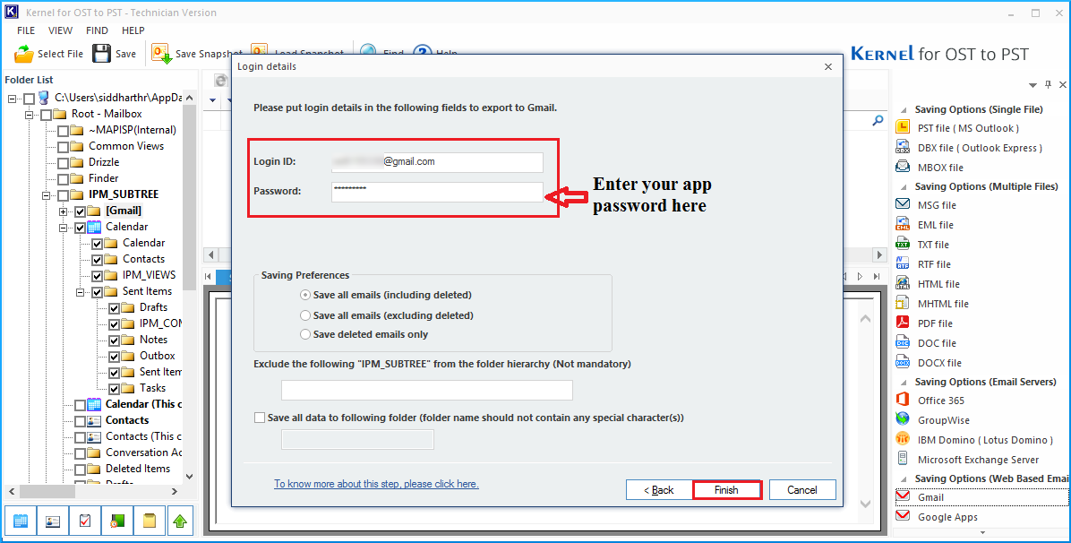 enter the earlier generated app password