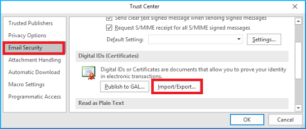export Digital IDs (certificates)