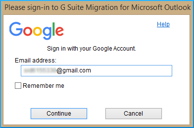 login G Suite Migration for Microsoft Outlook