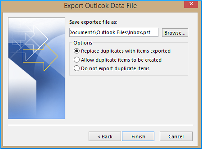 Browse location to save exported file