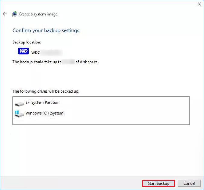 Confirm backup settings