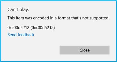 Error code 0xc00d5212
