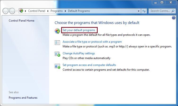Make Outlook your default program