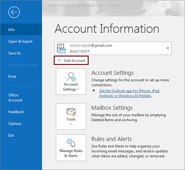 Launch Outlook to add account