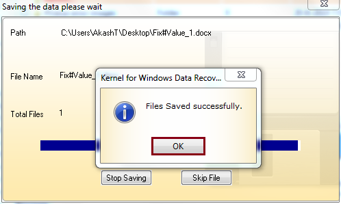 recovered file gets saved