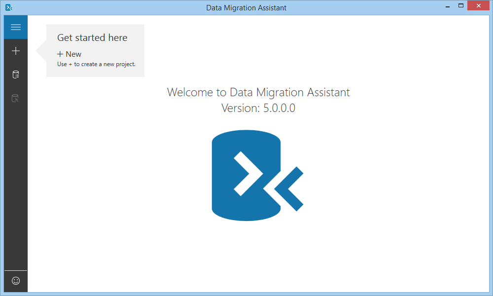 Microsoft Data Migration Assistant home screen