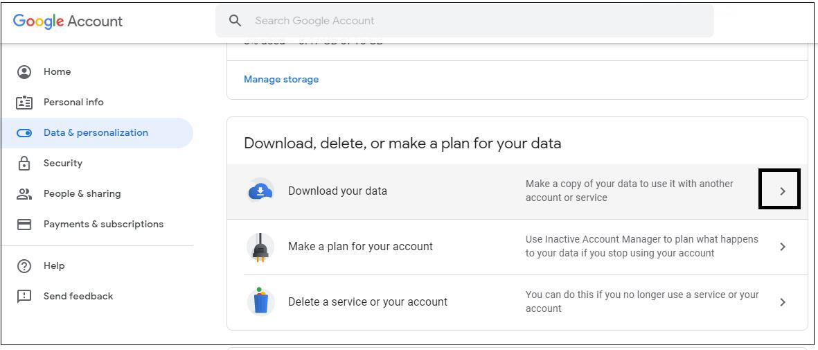 Click Data & personalization option