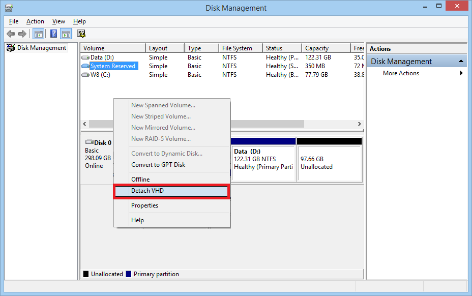 Right-click the VHD disk icon and select Detach VHD option to detach the VHD file