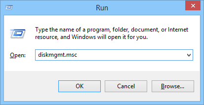 Run box (Windows + R) to open the Computer Management page by typing diskmgmt.msc and clicking OK