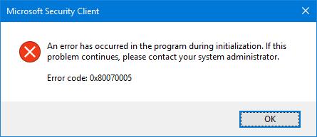 Windows error code 0x80070005