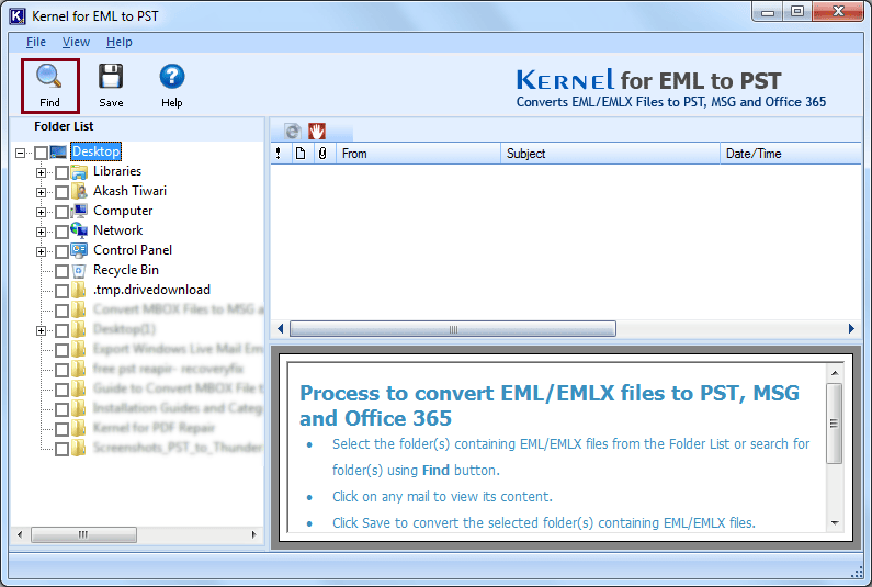 Launch Kernel for EML to PST Software
