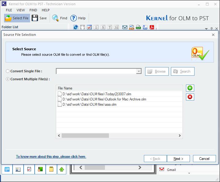 Run OLM to PST Converter tool