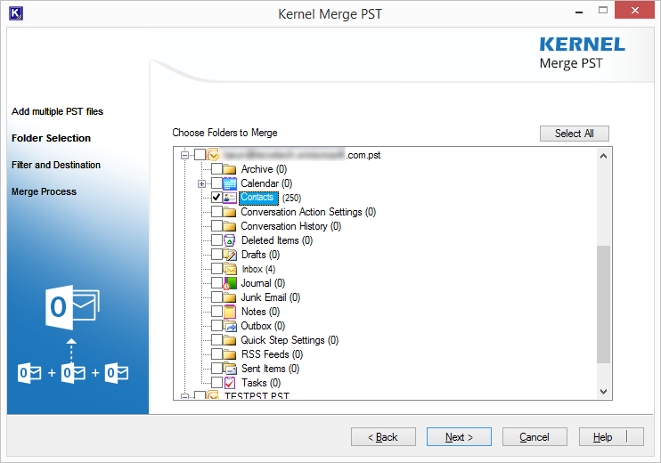 select folder to merge PST file