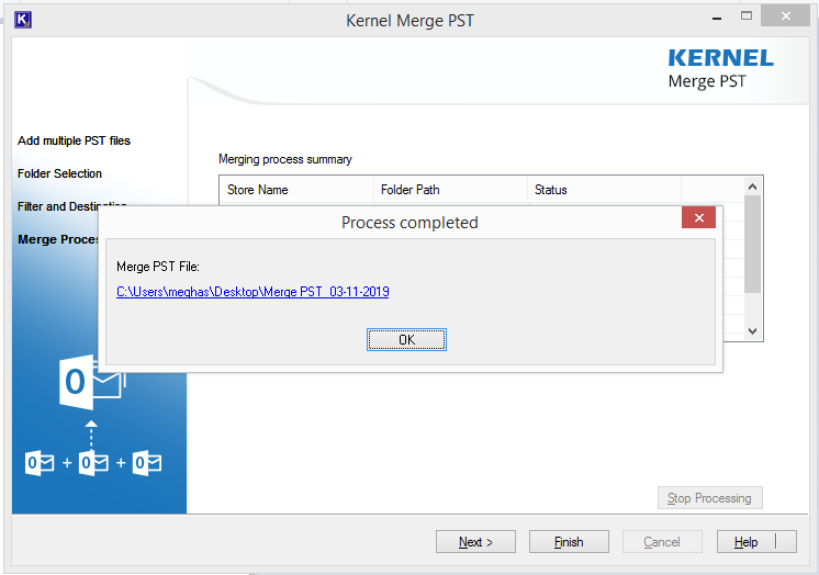 PST file merge successfully