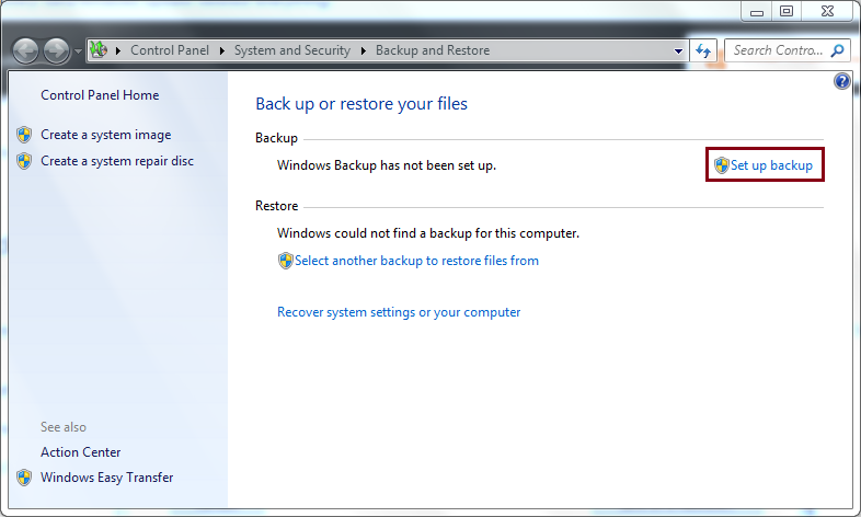 Select Backup and Restore Files