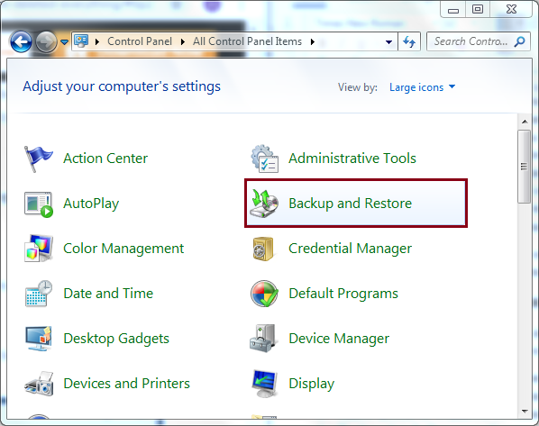 Clieck On Backup and Restore