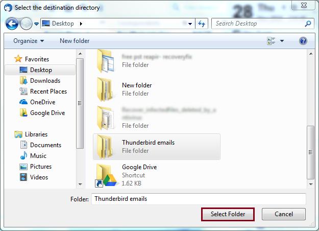 Select destination directory