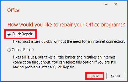 select Quick Repair