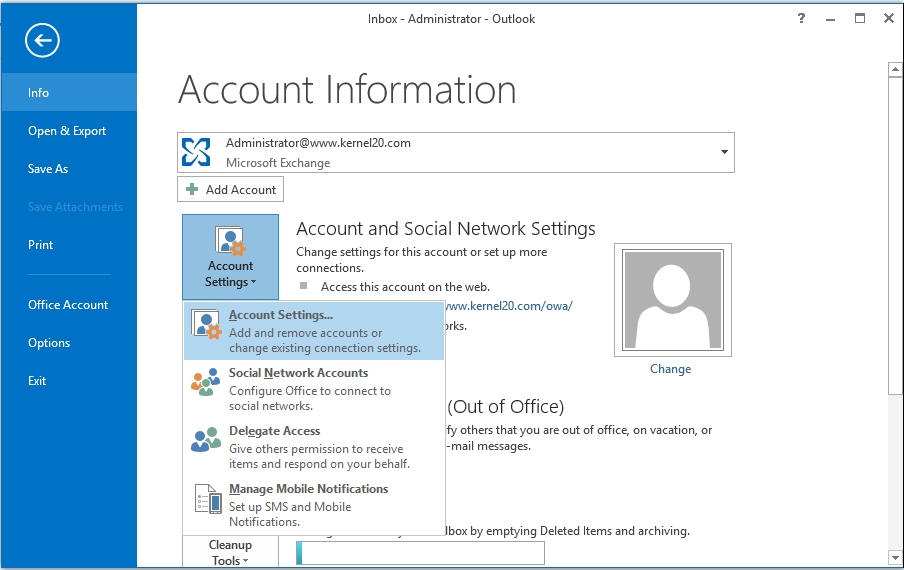Open Microsoft Outlook application