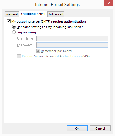 Select My outgoing server (SMTP) requires authentication