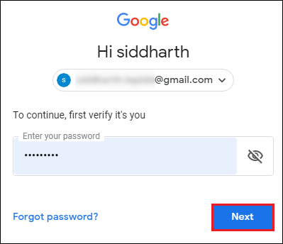 enter your Gmail credentials and hit Next