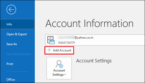 Click on add account in Outlook
