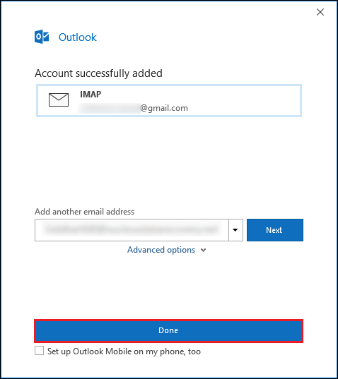 Gmail account added in Outlook