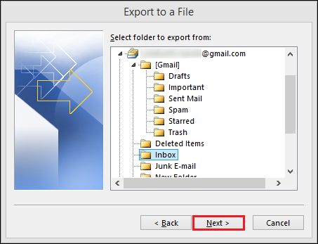 Select folder containing emails to export to CSV formate