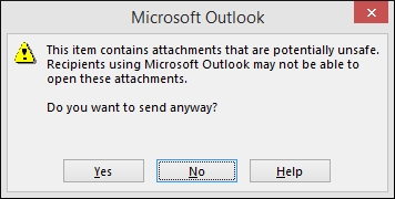 Warning message in Outlook