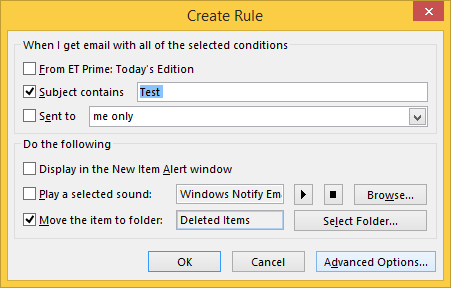 Message Rules in Outlook