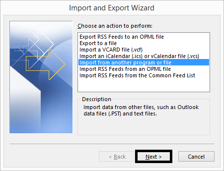 Choose option Import from another program or file