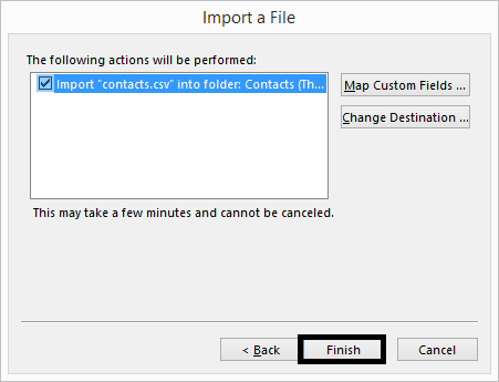 Select the added file and click finish