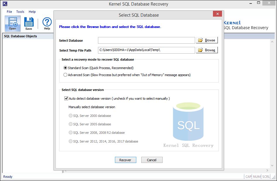 Kernel for SQL Database Recovery