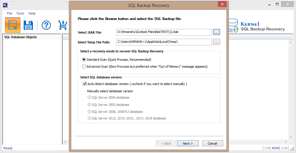 Kernel SQL Backup Recovery Tool