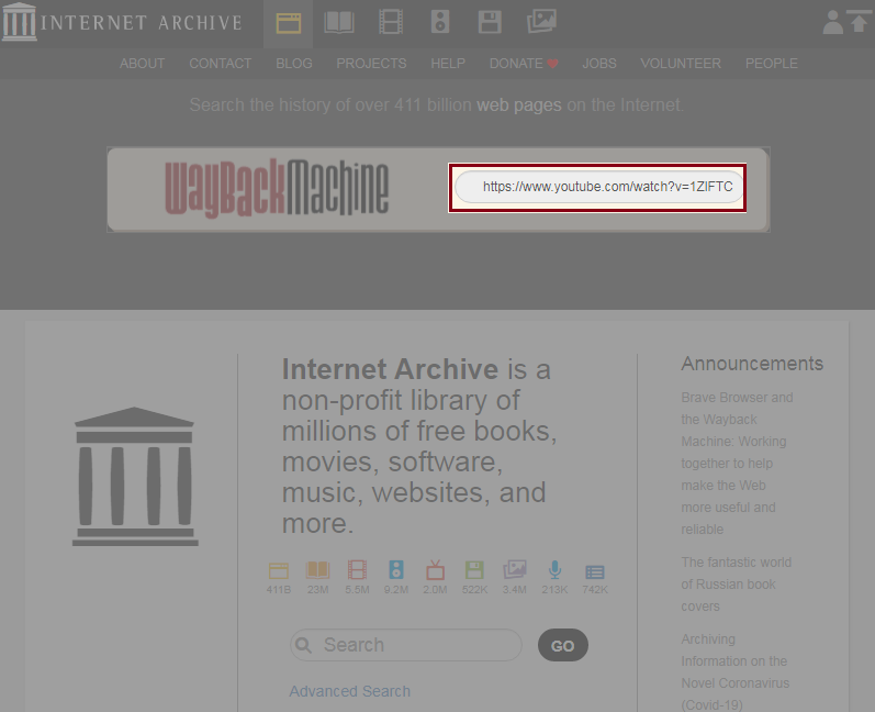Paste URL at archive.org